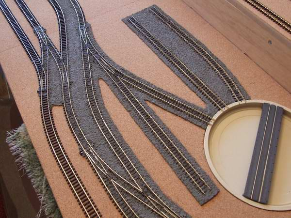 One of our twin level 'N' gauge sets being ballasted.