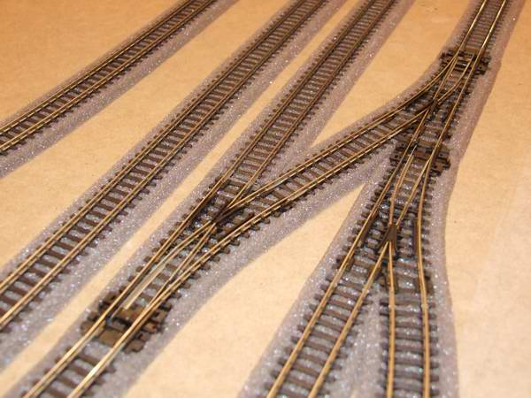 An 'N' gauge layout showing the track fitted with PECO foam ballast.